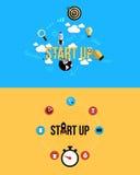 Ikonen für beginnen oben Flache Art Lizenzfreie Stockfotografie