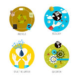 Ikonen für bereiten, Ökologie, sparen das Wasser, gehen Grün auf Flache Art Stockfotos