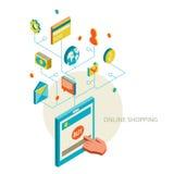 Ikonen für bewegliches Marketing und das on-line-Einkaufen lizenzfreie abbildung