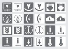 Ikonen für das Herunterladen von Dateien Satz Vektorikonen für Website oder APP Verschiedene einfache Downloadikone, vom Hintergr Stockfotos