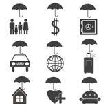 Ikonen für die Versicherungsgesellschaft Stockbilder