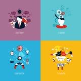 Ikonen für Führung, Planung, gamification und Teamwork flach Lizenzfreies Stockbild