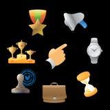 Ikonen für Geschäftsmetapher Stockfotografie