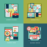 Ikonen für Geschäftswerkzeuge, Dokumente im flachen Design Lizenzfreie Stockfotografie