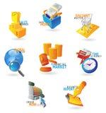 Ikonen für Handel und Einzelverkauf lizenzfreie abbildung