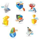 Ikonen für Handel und Einzelverkauf vektor abbildung