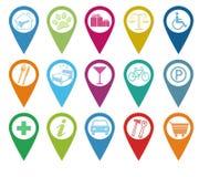Ikonen für Markierungen auf Karten Lizenzfreies Stockbild
