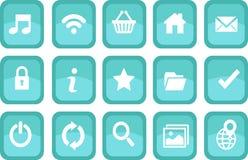 Ikonen für Netz im tranquile Aquathema Lizenzfreie Stockfotos