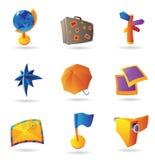 Ikonen für Reise und Freizeit Lizenzfreies Stockfoto
