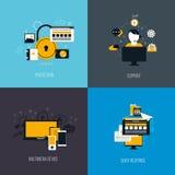 Ikonen für Schutz, Unterstützung, Multimediagerät und quck respon Stockfotografie