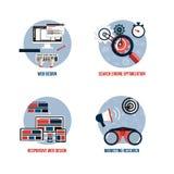 Ikonen für seo, Webdesign, entgegenkommendes Webdesign und vermarktendes r Stockfoto