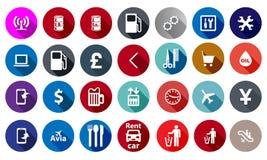 Ikonen für Service in einer flachen Art Stockfotos