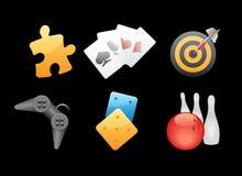 Ikonen für Spiele, Freizeit und das Spielen Stockfotografie