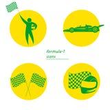 Ikonen für Sport, Sportauto, Fahrer, Sturzhelm und laufen Flagge Stockfotos