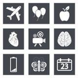 Ikonen für Webdesign und bewegliche Anwendungen stellten 2 ein Stockbild