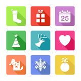 Ikonen für Weihnachtsfeiertags-Aktionen Stockbild
