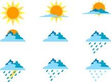 Ikonen für Wetter-Symbole Lizenzfreie Stockfotografie