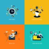 Ikonen für Zeit ist Geld, wirtschaftliche Entwicklung, Newsletter und MA Stockbild