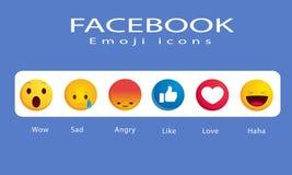 Ikonen Facebooks Emoji lizenzfreie abbildung