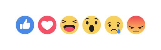 Ikonen Facebooks Emoji Vektorsocial media-Hintergrund Auch im corel abgehobenen Betrag lizenzfreie abbildung
