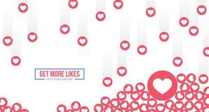 Ikonen Facebooks Emoji Vektorsocial media-Hintergrund Auch im corel abgehobenen Betrag vektor abbildung