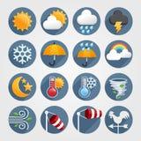 Ikonen-Farbsatz des Wetters flacher Lizenzfreie Stockfotos