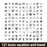 121 Ikonen Ferien und Reise Lizenzfreie Stockfotografie