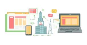 Ikonen-flacher Ort der Technologie-Konzentration Lizenzfreie Stockfotos