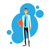 Ikonen-flacher Vektor Doktor-Cartoon Smile Man Stockfotografie