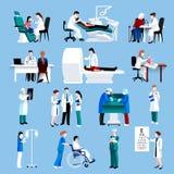 Ikonen fllat Leute der medizinischen Behandlung eingestellt Lizenzfreie Stockbilder
