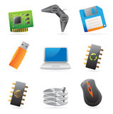 Ikonen für Computer und Computerteile Stockfoto