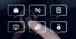 Ikonen gegen Person im Auto, das einen Knopf betätigt Stockfotos