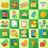 Ikonen-gesetztes Hypothekendarlehen Lizenzfreies Stockbild