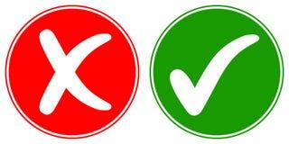 Ikonen-Häkchenzecke und Querlöschen, Vektorkonzeptwörter HEISST und NEIN, genehmigtes und zurückgewiesenes Zeichen gut Lizenzfreie Stockfotografie