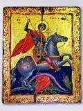 Ikonen-Heiliges George Victorious, der den Drachen tötet Stockbilder
