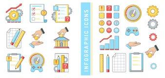 Ikonen infographics Geschäft Finanzbankrechnungsprüfung entwirft Fragenantwort-Handgeld lizenzfreie abbildung