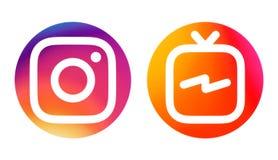 Ikonen Instagram und Instagram Fernsehen IGTV stock abbildung