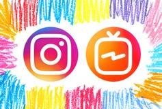 Ikonen Kreis Instagram und Instagram Fernsehen IGTV lizenzfreie abbildung