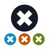 Ikonen-Löschungszeichen, Ikonen-kreuzweise Zeichen Lizenzfreies Stockbild