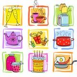 Ikonen Mahlzeit und Waren Lizenzfreie Stockbilder
