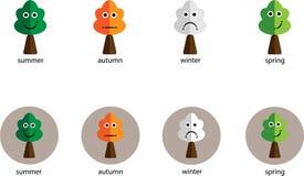 Ikonen mit den Jahreszeiten und den Gefühlen lizenzfreie abbildung