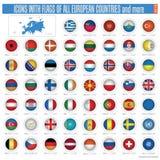 Ikonen mit Markierungsfahnen der aller europäischen Länder Lizenzfreies Stockbild