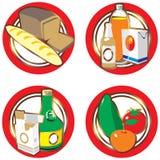 Ikonen mit Nahrungsmitteln und Getränken. lizenzfreie abbildung