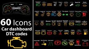 Ikonen mit 60 Sätzen - Armaturenbrett, dtc Codes, Fehlermeldung, Kontrollmaschine, Störung, Armaturenbrettvektorillustration, Gas lizenzfreie stockfotos