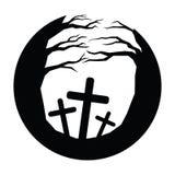 Ikonen-Mondschein und Baum und Gräber von Halloween Stockfotos