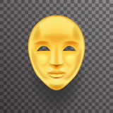 Ikonen-Schablonen-Hintergrund-Spott-hohe Design-Vektor-Illustration des Masken-antiker goldener Gesichts-realistischer 3d Transpe Lizenzfreies Stockfoto