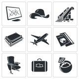 Ikonen standen auf Flugzeugverkehr - Fluggastflugzeugformen in Verbindung Lizenzfreies Stockfoto