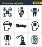 Ikonen stellten erstklassige Qualität der zukünftigen Technologie und des künstlichen intelligenten Roboters ein Flaches Design d Stockfoto