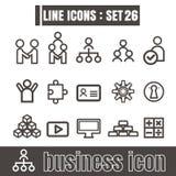 Ikonen stellten Geschäfts-Team Works-Linie Schwarzes modernes Artdesign ein Stockfoto
