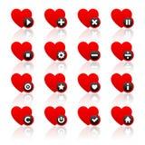 Ikonen stellten - rote Herzen und schwarze Knöpfe ein Stockfotos